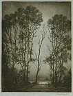 "Robert Hogg Nisbet, etching, ""Moonlight with Trees"""