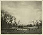 """Robert Hogg Nisbet, etching, """"Evening"""""""