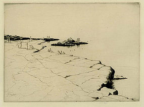 "Martin Hardie, etching, ""Bathers"""