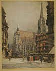 "Luigi Kasimir, color etching, ""St. Stephen's"""