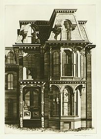 """Lawrence Kupferman, etching, """"Victorian House"""""""