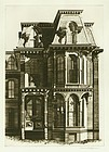 "Lawrence Kupferman, etching, ""Victorian House"""
