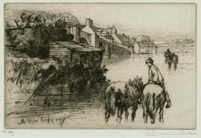 "Sir Francis Seymour Haden, etching, ""Wareham Bridge"""