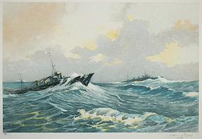 "Robert Dumont-Duparc, etching, ""Destroyer..."""