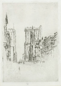 """Joseph Pennell, etching, """"Upper Fifth Ave, NYC"""""""