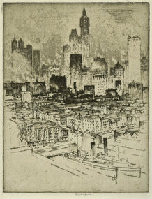 Joseph Pennell, etching, New York, from Brooklyn Bridge
