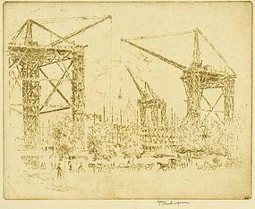 Joseph Pennell, etching, Great Cranes, South Kensington