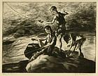 """John Edward Costigan, etching, """"Three Fishermen"""""""
