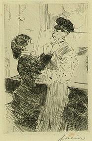 """Jean Louis Forain, etching, """"Le Noeud de Cravate"""""""