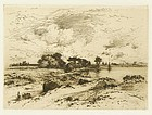 "Thomas Moran, etching, ""Three Mile Harbor L.I."""