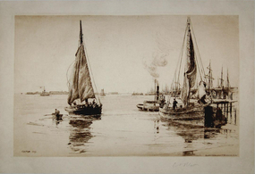 "Charles Adams Platt, etching, ""Two Sloops, East River"""