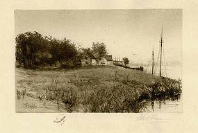 "Edith Penman, etching, ""On the Shoreline"""