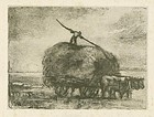 "William Morris Hunt, lithograph, ""The Hay Wagon"""
