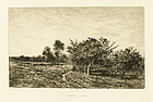 "Charles F. Daubigny, etching, ""Pommiers a Auvers"""