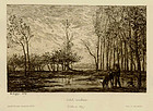 "Charles F. Daubigny, etching, ""Soleil Couchant"""