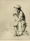 "William Auerbach-Levy, etching, ""Traveler"""
