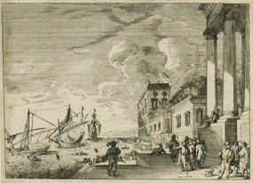 "Jacques Callot, engraving, ""Port Scene"""