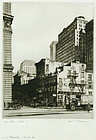 "Samuel Chamberlain, etching, ""Manhattan - Old and New"""