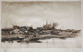 """Stephen Parrish, etching, """"Evening in Brittany"""""""