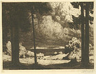 "Georg Broel, etching, ""Lakeside"""