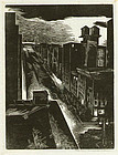 "Morton Dimondstein, engraving, ""City Rooftops at Night"""