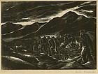 "Morton Dimondstein, wood engraving, ""Procession"""