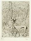 "Andre Sureda, etching, ""Ibex"""