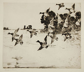 "Frank Benson, etching, ""The Passing Flock"""