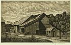 """Luigi Lucioni, etching, """"Weathered Barns"""""""