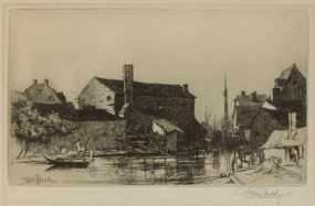 """Stephen Parrish, etching, """"A By-Way in Trenton"""""""