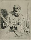 "Arthur Heintzelman, etching, ""Guitar Player"""