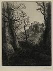 """Alphonse Legros, etching, """"Paysage"""""""