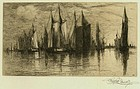 "Stephen Parrish, etching, ""Sunset, Gloucester Harbor"""