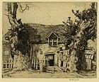 "Martin Hardie, etching, ""Dulieu's Pig Farm"""