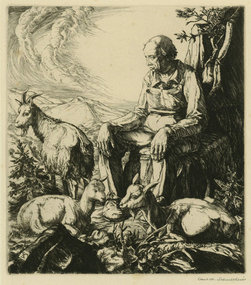 "Carl M. Schultheiss, engraving, ""Goatherd"""