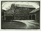 "Asa Cheffetz, wood engraving, ""Barns"""