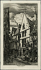 "Charles Meryon, etching, ""La Rue des Toiles, Bourges"""