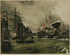 "Luigi Kasimir, etching, ""Hamburg Harbor"""