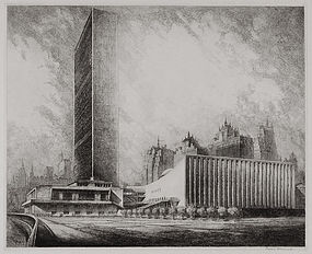 "Louis Orr, etching, ""The United Nations"""