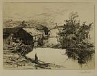 "Stephen Parrish, etching, ""Mills at Mispek, N.B."""