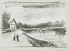 """Maurice de Vlaminck, lithograph, """"Le Pont sur l'Oise"""""""