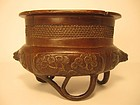 Chinese Bronze Censer with Floral Decoration