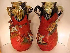 Pair of Japanese Sumida Gawa Vases