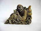Chinese Stone Seal of a Reclining Sage