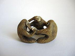 Japanese Okimono of Three Wise Monkeys