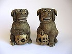 Japanese Pair of Ivory Shishi Dog Okimonos