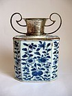 Chinese Kangxi Hexagonal Vase/Caddy with Dutch Silver