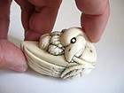 Japanese Marine Ivory Netsuke of a Goose With Millet