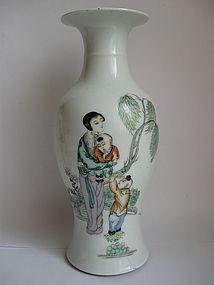 Chinese Fine Famille Verte Porcelain Vase, Script