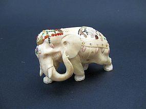 Japanese Shibayama Ivory Elephant